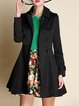 Black A-line Plain Casual Lapel Buttoned Coat