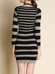 Light Coffee Stripes Sexy Sweater Dress