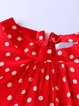 Red Polka Dots Long Sleeve Silk Zipper Blouse