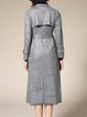 Gray Lapel Polyester H-line Simple Pockets Trench Coat