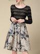 Apricot Elegant A-line Paneled Jacquard Midi Dress