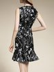Black Ruffled Elegant Polyester Midi Dress