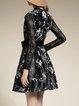 Black Elegant V Neck Color-block Mini Dress