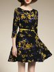 Yellow 3/4 Sleeve Floral Printed Mini Dress