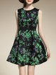 Green Sleeveless Crew Neck Floral Ribbed Mini Dress
