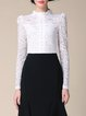 White Pierced Elegant Stand Collar Lace Long Sleeved Top