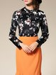 Orange Printed Polyester Long Sleeve Blouse