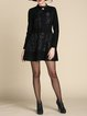 Black Paneled Long Sleeve Jacquard Mini Dress