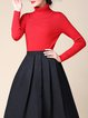 Red Plain Turtleneck Knitted Ribbed Casual Sweater