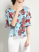 Frill Sleeve Cutout Casual V Neck Floral print Blouse