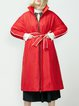 Casual A-line Piping Long Sleeve Down Coat With Belt