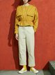 Yellow Solid Casual Coat