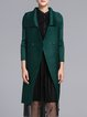 Green Long Sleeve Crinkled Polyester Solid Coat