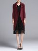 Burgundy Casual Solid Pleated Coat
