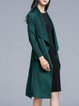 Green Solid Crinkled Polyester Casual Coat