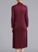 Shift  Solid Casual Long Sleeve Midi Dress