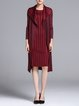 Burgundy Long Sleeve Pleated Midi Dress