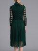 Green  Casual A-line V Neck Midi Dress