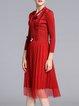 Red Casual  Ruffled Midi Dress