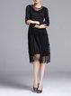 Black Crew Neck Casual A-line Midi Dress