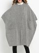 Gray Asymmetrical Casual Crew Neck Pockets Cape
