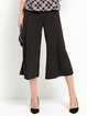 Black Plain H-line Casual Folds Flared Wide Leg Pants