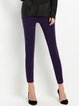 Purple Casual Pockets Skinny Leg Pants