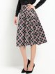 Red Casual Checkered/Plaid Color-block Midi Skirt