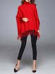 Fringed Solid Shift Long Sleeve Turtleneck Sweater