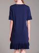 Navy Blue Frill Sleeve Knitted V Neck Sweater Dress