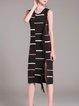 Black Stripes Knitted Sleeveless Slit Sheath Sweater Dress
