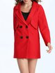 Long Sleeve Solid Cotton-blend Lapel Casual Coat