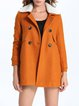 Orange Casual Cotton-blend Solid Fur And Shearling Coat