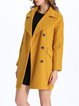 Buttoned Cotton-blend Casual Lapel Long Sleeve Coat
