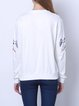 White Embroidered Crew Neck Casual Long Sleeved Top