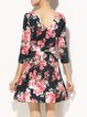 Printed A-line Short Sleeve Casual Midi Dress