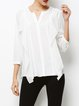 Solid Stand Collar 3/4 Sleeve Simple Blouse