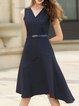 Navy Blue Simple Stripes Midi Dress