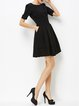 Black Plain Short Sleeve A-line Midi Dress