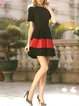 Black Crew Neck Casual Folds Mini Dress