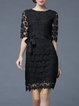 Black Lace Half Sleeve Pierced Floral Midi Dress