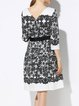 A-line 3/4 Sleeve Cotton Floral Casual Midi Dress