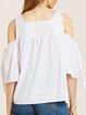 Floral-embroidered Polyester Cold Shoulder Top