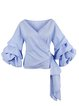 Blue Polyester Surplice Neck Tiered Bell Sleeve Top