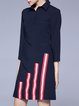 Dark Blue 3/4 Sleeve A-line Shirt Collar Midi Dress