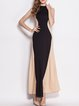 Black A-line Halter Sleeveless Color-block Evening Dress