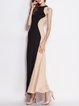 Black A-line Halter Sleeveless Color-block Maxi Dress