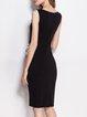 Black Polka Dots V Neck Bodycon Elegant Midi Dress