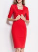 Red Half Sleeve Bodycon Midi Dress
