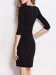 3/4 Sleeve Bodycon Crew Neck Color-block Elegant Midi Dress